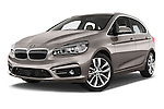 Stock pictures of low aggressive front three quarter view of a 2015 BMW 2 Series 5 Door Mini MPV 2WD Low Aggressive