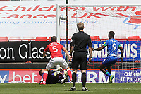 Jamal Lowe scores Wigan's opening goal during Charlton Athletic vs Wigan Athletic, Sky Bet EFL Championship Football at The Valley on 18th July 2020