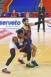 Turkish Airlines Euroleague 2020/2021. <br /> Regular Season-Round 9.<br /> FC Barcelona vs Olympiacos Piraeus: 88-96.<br /> Livio Jean-Charles vs Alex Abrines.