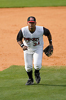 Third baseman Juan Francisco #34 of the Carolina Mudcats on defense versus the Jacksonville Suns at Five County Stadium May 18, 2009 in Zebulon, North Carolina. (Photo by Brian Westerholt / Four Seam Images)
