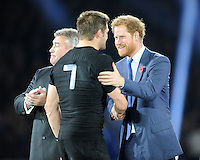 Prince Harry congratulates Richie McCaw of New Zealand at the end of the Rugby World Cup Final between New Zealand and Australia - 31/10/2015 - Twickenham Stadium, London<br /> Mandatory Credit: Rob Munro/Stewart Communications