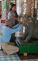 Myanmar, Burma.  Burmese Man Venerating a Frog Sculpture in a Buddhist Temple, near Mandalay.  Soon U Ponya Shin Pagoda, Sagaing Hill.