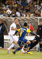 Cristiano Ronaldo (left) against Oscar Rojas (right). Real Madrid defeated Club America 3-2 at Candlestick Park in San Francisco, California on August 4th, 2010.