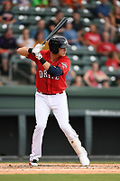 Third baseman Bobby Dalbec (23) of the Greenville Drive bats in a game against the Charleston RiverDogs on Friday, July 28, 2017, at Fluor Field at the West End in Greenville, South Carolina. Charleston won, 6-1. (Tom Priddy/Four Seam Images)