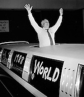 Los Angeles Dodgers Manager Tommy Lasorda waves to cheering fans in the early morning hours as the Los Angels Dodgers arrived at at Los Angeles International Airport in October 1988. Lasorda's Dodgers went on to beat the Oakland Athletics for the 1988 World Series title. (Photo by Alan Greth)
