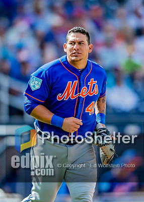 7 March 2019: New York Mets catcher Wilson Ramos trots off the field during a Spring Training Game against the Washington Nationals at the Ballpark of the Palm Beaches in West Palm Beach, Florida. The Nationals defeated the visiting Mets 6-4 in Grapefruit League, pre-season play. Mandatory Credit: Ed Wolfstein Photo *** RAW (NEF) Image File Available ***