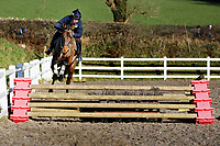 Pictured: Sean Bowen rides a horse in the school. Wednesday 10 January 2018<br /> Re: Peter Bower Racing in Little Newcastle, west Wales, UK.
