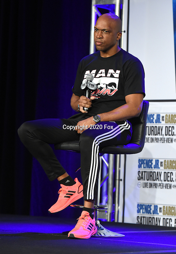 DALLAS, TX - DECEMBER 2: Trainer Derrick James at the press conference for the Errol Spence Jr. vs Danny Garcia December 5, 2020 Fox Sports PBC Pay-Per-View title fight at AT&T Stadium in Arlington, Texas. (Photo by Frank Micelotta/Fox Sports)