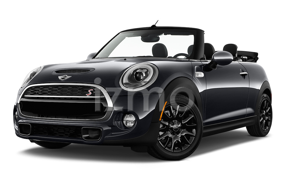 Stock pictures of low aggressive front three quarter view of 2017 MINI Cooper S 2 Door Convertible Low Aggressive