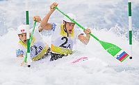 02 AUG 2012 - CHESHUNT, GBR - Saso Taljat (SLO) (left) and Luka Bozic (SLO) (right) of Slovenia make their semi final run during the men's Canoe Double (C2) during the London 2012 Olympic Games event at Lee Valley White Water Centre, Cheshunt, Great Britain (PHOTO (C) 2012 NIGEL FARROW)