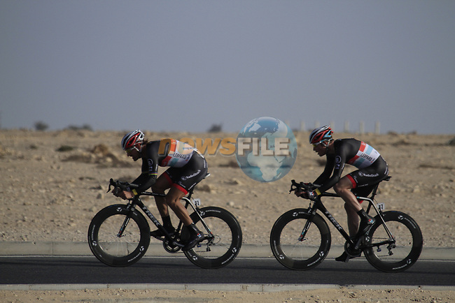 Radioshack-Nissan Trek team in action during the 2nd Stage of the 2012 Tour of Qatar an 11.3km team time trial at Lusail Circuit, Doha, Qatar. 6th February 2012.<br /> (Photo Eoin Clarke/Newsfile)