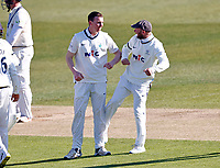 Yorkshire's Harry Brook (L) is congratulated by Adam Lyth after taking the wicket of Darren Stevens during Kent CCC vs Yorkshire CCC, LV Insurance County Championship Group 3 Cricket at The Spitfire Ground on 16th April 2021