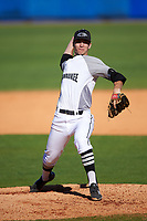 Wisconsin-Milwaukee Panthers starting pitcher Jay Peters (24) delivers a pitch during a game against the Bethune-Cookman Wildcats on February 26, 2016 at Chain of Lakes Stadium in Winter Haven, Florida.  Wisconsin-Milwaukee defeated Bethune-Cookman 11-0.  (Mike Janes/Four Seam Images)