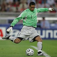 Tunisia goalkeeper Ali Boumnijel. Spain defeated Tunisia 3-1 in their FIFA World Cup Group H match at the Gottlieb-Daimler-Stadion, Stuttgart, Germany, June 19, 2006.
