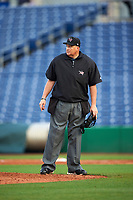 Home plate umpire Landon Davis during a game between the Alabama State Hornets and Ball State Cardinals on February 18, 2017 at Spectrum Field in Clearwater, Florida.  Ball State defeated Alabama State 3-2.  (Mike Janes/Four Seam Images)