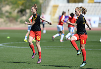 20180228 - LARNACA , CYPRUS :  Belgian Yana Daniels (left) and Janice Cayman (right) pictured during warming up a women's soccer game between The Belgian Red Flames and the Czech Republic , on wednesday 28 February 2018 at GSZ Stadium in Larnaca , Cyprus . This is the first game in group B for Belgium during the Cyprus Womens Cup , a prestigious women soccer tournament as a preparation on the World Cup 2019 qualification duels. PHOTO SPORTPIX.BE   DAVID CATRY
