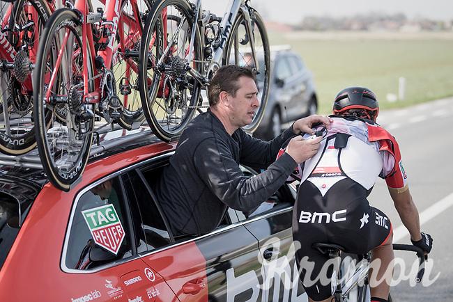 race radio check/reboot for Greg Van Avermaet (BEL/BMC)<br /> <br /> 79th Gent-Wevelgem 2017 (1.UWT)<br /> 1day race: Deinze › Wevelgem - BEL (249km)