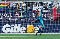 FOXBOROUGH, MA - JUNE 23: Matt Turner #30 of New England Revolution takes a goal kick during a game between New York Red Bulls and New England Revolution at Gillette Stadium on June 23, 2021 in Foxborough, Massachusetts.
