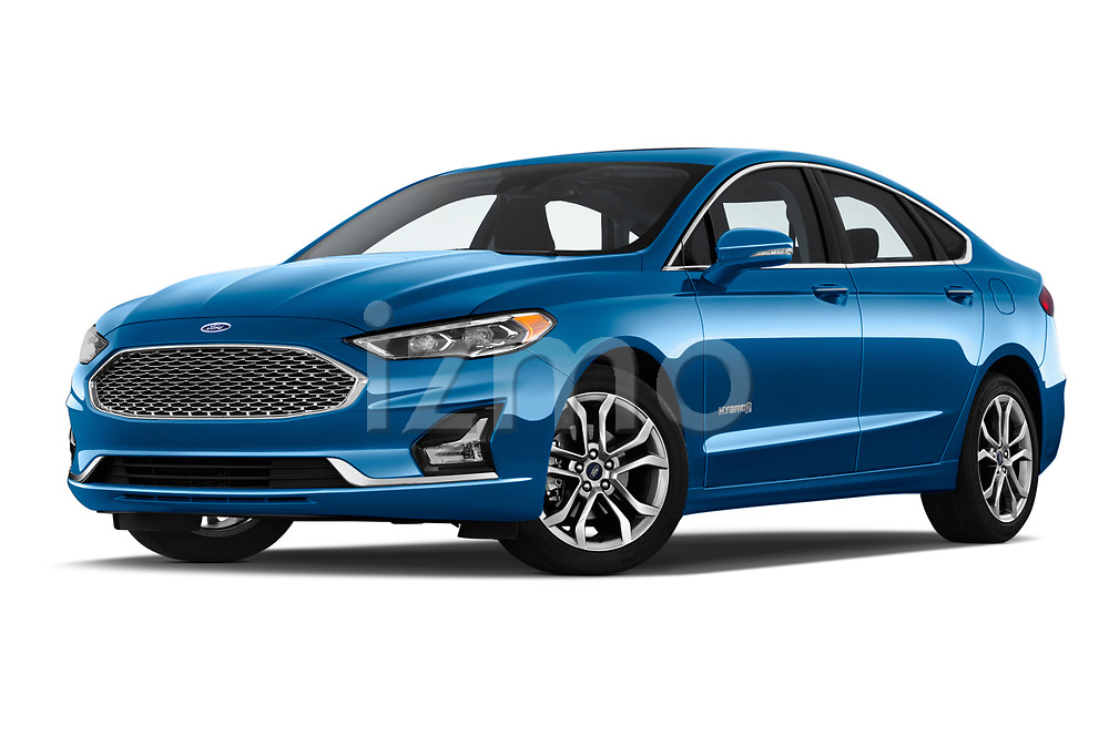Stock pictures of low aggressive front three quarter view of a 2019 Ford Fusion-Hybrid Titanium  4 Door Sedan