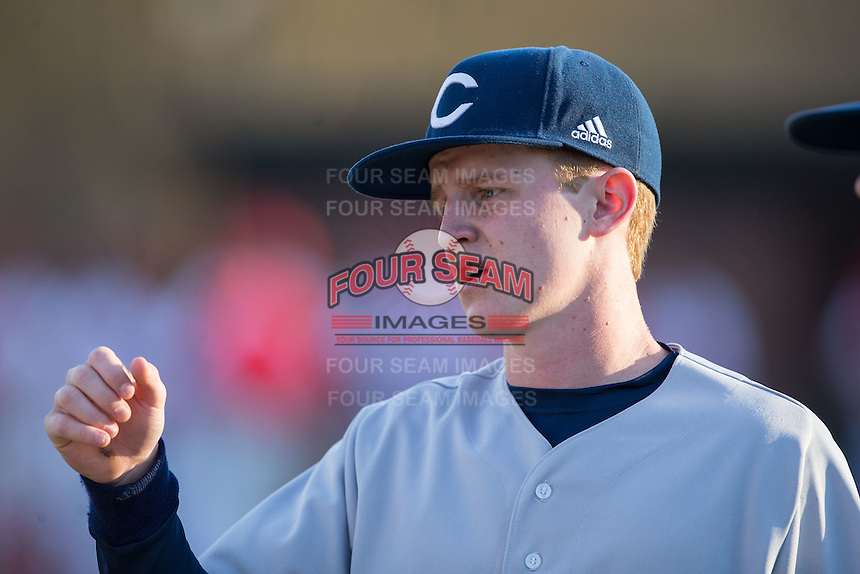 Jackson Raper (14) of the Catawba Indians prior to the game against the Belmont Abbey Crusaders at Abbey Yard on February 7, 2017 in Belmont, North Carolina.  The Crusaders defeated the Indians 12-9.  (Brian Westerholt/Four Seam Images)
