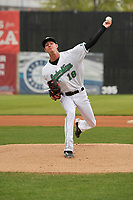 Clinton LumberKings starting pitcher Nick Wells (18) in action against the Lansing Lugnuts at Ashford University Field on May 9, 2017 in Clinton, Iowa.  The Lugnuts won 11-6.  (Dennis Hubbard/Four Seam Images)
