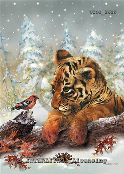 GIORDANO, CHRISTMAS ANIMALS, WEIHNACHTEN TIERE, NAVIDAD ANIMALES, paintings+++++,USGI2628,#XA# tigers