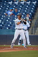 Tampa Tarpons Oswaldo Cabrera (3) at bat during a Florida State League game against the St. Lucie Mets on April 10, 2019 at George M. Steinbrenner Field in Tampa, Florida.  St. Lucie defeated Tampa 4-3.  (Mike Janes/Four Seam Images)