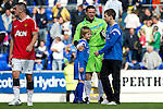 St Johnstone v Man Utd XI....31.07.10  Alan Main Testimonial.Alan Main is joined on the pitch by his sons Josh and Kristofer.Picture by Graeme Hart..Copyright Perthshire Picture Agency.Tel: 01738 623350  Mobile: 07990 594431