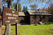 Daniel Webster Birthplace State Historic Site in Franklin, New Hampshire during the autumn months. This restored cabin is associated with the 1782 birth and early childhood years of Daniel Webster. Daniel Webster (January 18, 1782 – October 24, 1852) was a statesman and lawyer.