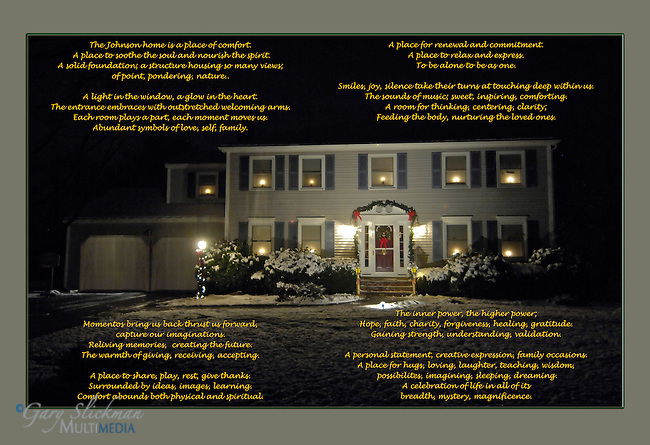 Split level home in New England winter scene with custom poem describing the family that calls this home.