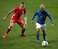 Football: Uefa Nations League Group A match Italy vs Poland at Mapei stadium, Città del Tricolore in Reggio Emilia, on Novemner 15, 2020.<br /> Italy's Lorenzo Insigne (r) in action with Poland's Jacek Goralski (l) during the Uefa Nations League match between Italy and Poland at Mapei  stadium  città del Tricolore in Reggio Emillia, on November 15, 2020. <br /> UPDATE IMAGES PRESS/Isabella Bonotto