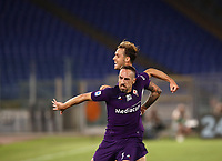 Football, Serie A: S.S. Lazio - Fiorentina, Olympic stadium, Rome, June 27, 2020. <br /> Fiorentina's Frank-Henry Ribéry (in front of) celebrates after scoring with his teammate Pol Mikel Lirola during the Italian Serie A football match between S.S. Lazio and Fiorentina at Rome's Olympic stadium, Rome, on June 27, 2020. <br /> UPDATE IMAGES PRESS/Isabella Bonotto