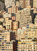 Dense cluster of city buildings, Monte Carlo, Monaco