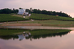 Vineyards, winery and pond of Frogtown Cellars near Dahlonega in North Georgia