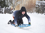 Justin Mc Grath having fun in the snow at Woodstock View in Ennis. Photograph by John Kelly.