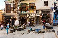 Fes, Morocco.  Seffarine Square (Place Seffarine), the Metalworkers Square.