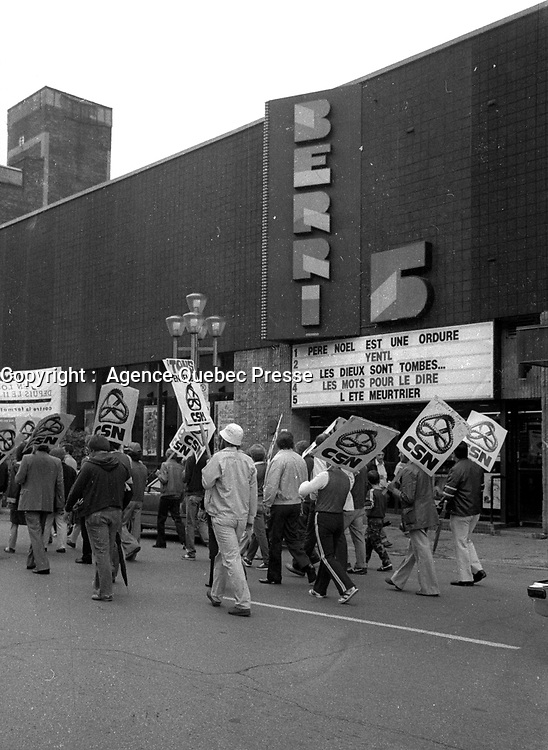 FILE PHOTO : CSN demonstration, August 23,1984<br /> <br /> PHOTO : Agence Quebec Presse