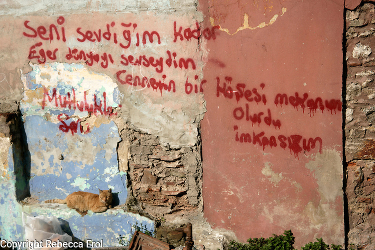 Wall grafitti in the Fener area, Istanbul, Turkey. Love poem which says 'If I loved the world as much I love you it would be a corner of heaven... it wasn't possible, I wish you all the happiness'