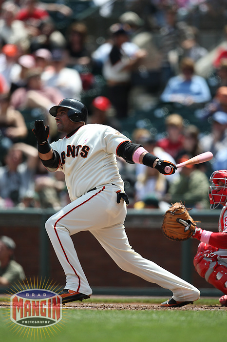 SAN FRANCISCO - MAY 11:  Bengie Molina of the San Francisco Giants bats during the game against the Philadelphia Phillies at AT&T Park in San Francisco, California on May 11, 2008.  The Giants defeated the Phillies 4-3.  Photo by Brad Mangin