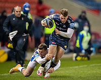 12th February 2021; AJ Bell Stadium, Salford, Lancashire, England; English Premiership Rugby, Sale Sharks versus Bath;  Tom Roebuck of Sale Sharks  is tackled by Ben Spencer of Bath Rugby