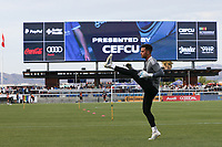 SAN JOSE, CA - AUGUST 13: JT Marcinkowski #1 of the San Jose Earthquakes before a game between Vancouver Whitecaps and San Jose Earthquakes at PayPal Park on August 13, 2021 in San Jose, California.