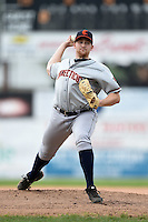 Connecticut Tigers starting pitcher Spencer Turnbull (43) delivers a warmup pitch during the second game of a doubleheader against the Batavia Muckdogs on July 20, 2014 at Dwyer Stadium in Batavia, New York.  Connecticut defeated Batavia 2-0.  (Mike Janes/Four Seam Images)
