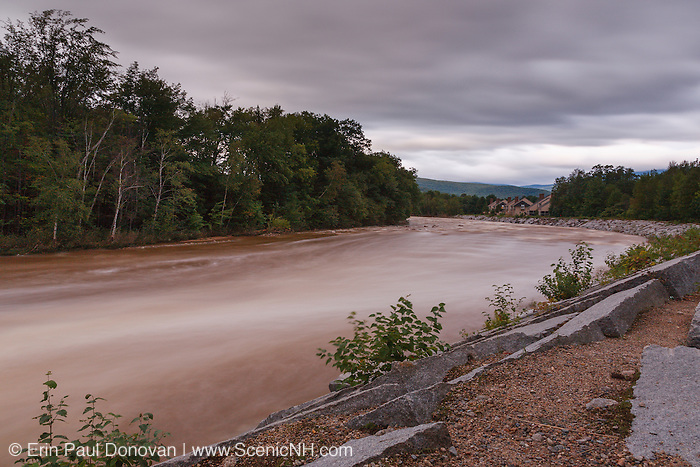 On August 27, 2011, the White Mountain National Forest was officially closed at 6:00PM because of Tropical Storm Irene. This image shows how the East Branch of the Pemigewasset River in Lincoln, New Hampshire looked on August 29, 2011, the day after the flash flood. Tropical Storm Irene caused massive destruction along the East Coast of the United States and the White Mountain National Forest of New Hampshire was officially closed during the storm