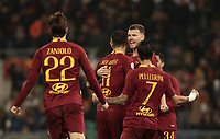 Football, Serie A: AS Roma - Bologna FC, Olympic stadium, Rome, February 18, 2019. <br /> Roma's Aleksandar Kolarov (c) celebrates after scoring with his teammates during the Italian Serie A football match between AS Roma and Bologna FC at Olympic stadium in Rome, on February 18, 2019.<br /> UPDATE IMAGES PRESS/Isabella Bonotto