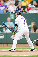 Chris Curley (4) of the Winston-Salem Dash at bat against the Carolina Mudcats at BB&T Ballpark on July 25, 2013 in Winston-Salem, North Carolina.  The Mudcats defeated the Dash 5-4.  (Brian Westerholt/Four Seam Images)