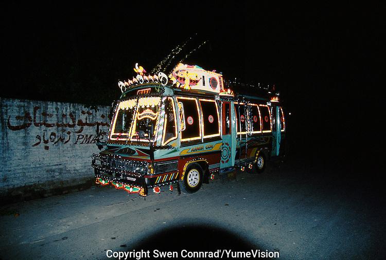 Night bus in Peshawar, Pakistan