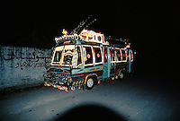 Night bus in Peshawar, Pakistan