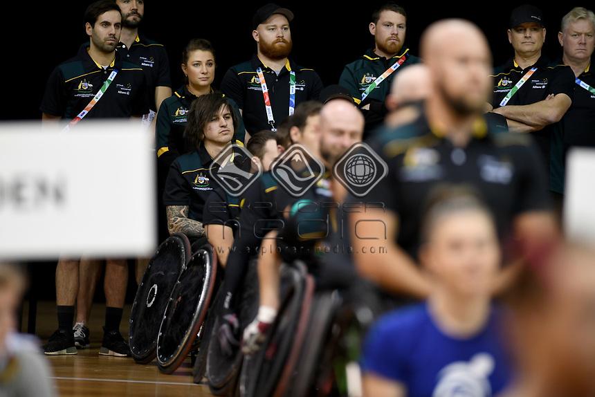 Australian Steelers staff<br /> Australian Wheelchair Rugby Team<br /> 2018 IWRF WheelChair Rugby <br /> World Championship / Day 1<br /> Sydney  NSW Australia<br /> Sunday 5th August 2018<br /> © Sport the library / Jeff Crow / APC