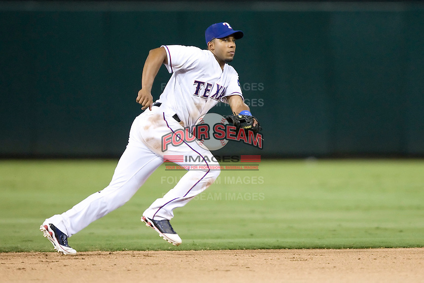 Texas Rangers shortstop Elvis Andrus #1 on defense during the Major League Baseball game against the Texas Rangers at the Rangers Ballpark in Arlington, Texas on July 27, 2011. Minnesota defeated Texas 7-2.  (Andrew Woolley/Four Seam Images)