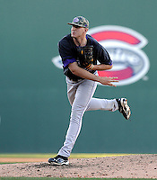 Pitcher Tyler Powell (26) of the Western Carolina Catamounts in a game against the Cincinnati Bearcats on Sunday, February 24, 2013, at Fluor Field in Greenville, South Carolina. Cincinnati won in 10 innings, 7-6. (Tom Priddy/Four Seam Images)